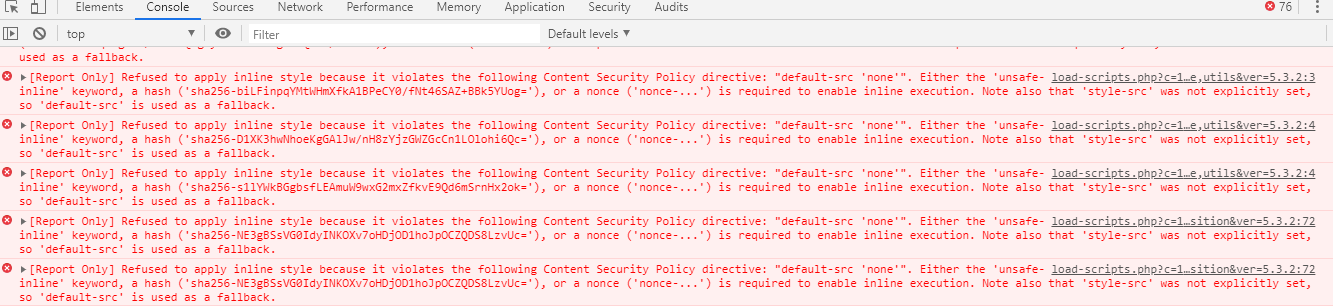 Browser console showing report-only errors for CSP